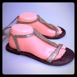 Free People Delilah Leather Leg Wrap Sandals Shoes
